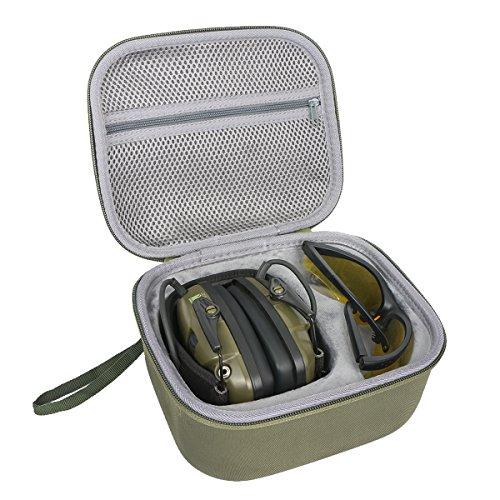 Hart Reise Schutz Hülle Etui Tasche für Honeywell Howard Leight 1013530 Impact Sport Foldable Ear Defender + Genesis Sharp-Shooter Safety Eyewear Glasses by co3CREA,Green