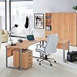 Lomado Komplett Büromöbel Set in Buche Nachbildung ● Schreibtische mit Metallkufen-Gestell ● Rollcontainer, Aktenschränke und Aktenregale ● Made in Germany