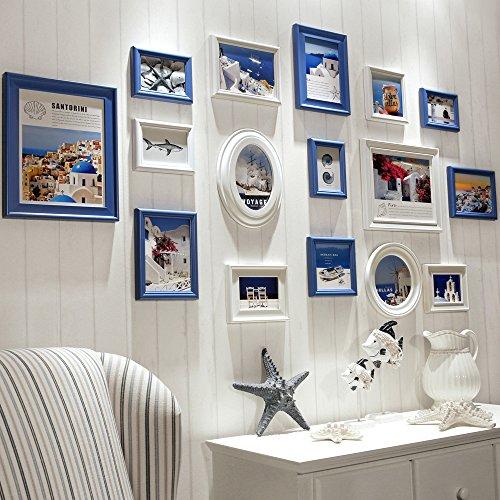 Nouveau Hängen (HJKY Photo Frame Wall Set Nouveau Continental foto Wände, wandrahmen Holz Wand aus dem Mittelmeerraum Foto an der Wand hängen, die Blauen und Weißen, die Leidenschaft des Mittelmeers)
