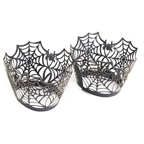 WINOMO 50 Stück Cupcake Wrappers Wraps Liner Hochzeit Geburtstag Party Halloween Kuchendekoration (schwarz)