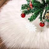 Tatuo Weiße Kunstpelz Weihnachtsbaum Rock Schnee Baum Röcke für Weihnachtsfeiertag Dekorationen (100 cm) -