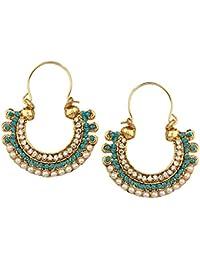Dancing Girl Bridal Kundans Turquoise Blue Firozi Metal Alloy Hoop Chand Bali Earrings For Women