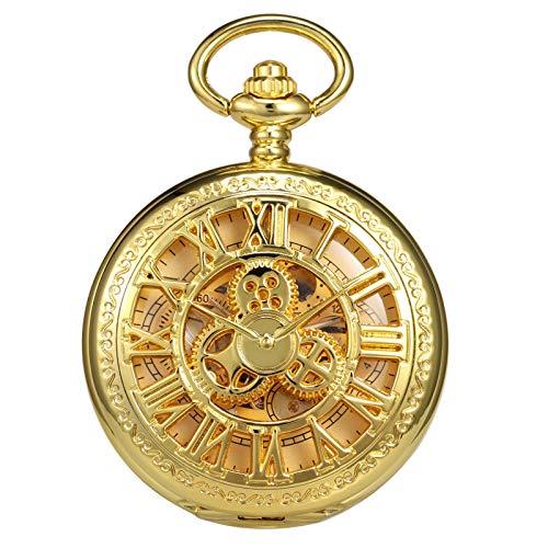 TREEWETO Taschenuhr mit Kette Herren Analog Handaufzug Doppelscharnier Antik Zahnrad Römische Ziffern Gold