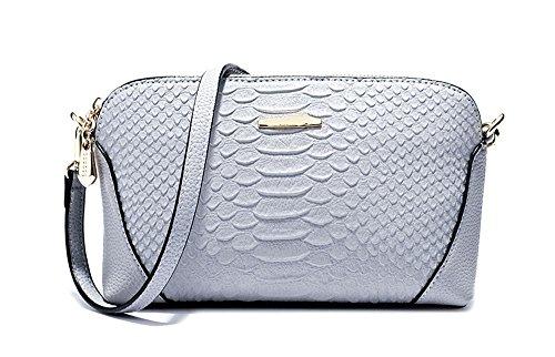 1 x Ranzen für Frauen �?Mini Schultertasche / Brotbeutel / Damenhandtasche mit zwei abnehmbaren Trägern - Blau & Grau Blau & Grau
