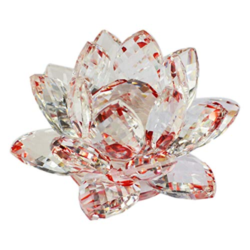 Creative Lotus Crystal Glass Figure Paperweight Ornament Decoration Collection Living Room Desk Decoration Home Decor - Red