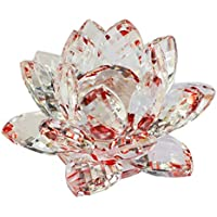 Creativo Loto de cristal de cristal Figura Pisapapeles Ornamento Decoración Colección Salón Decoración de escritorio Decoración para el hogar - Rojo
