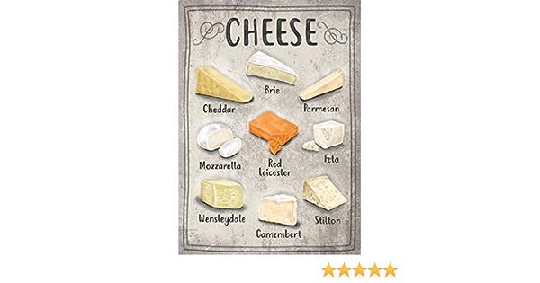 Cheese Selection Mozzarella Feta Stilton Cheddar Medium Metal//Steel Wall Sign