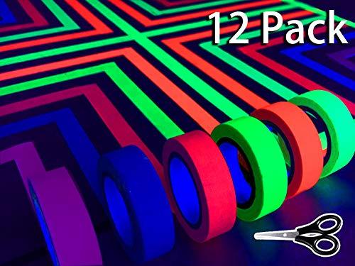Fluoreszierende Tape UV-Schwarzlicht Neon Gaffer Tape/Luminous Tape/Tape Neon/Selbstklebendem Band/Warnband Für Parteien Kunst Handwerk Dekorationen (12 Block /6 Colors) 33 Ft Pro Farbe