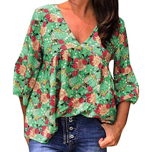 WUDUBE Damenmode Grosse Grössen Damen Shirts Sommer 1/2 Arm Tops GeblüMt Oberteil V-Ausschnitt Oben Bluse Valueweigh