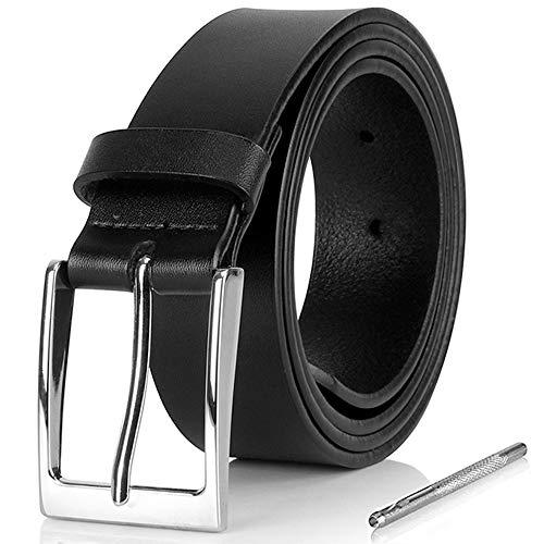 i-ZAGA Herren Gürtel, Dornschließe Herrengürtel Schwarz Ledergürtel für Männer - 35mm Breit - mit Geschenkbox (Schwarz, 110CM)