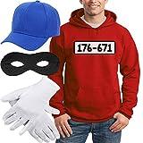 Shirtgeil Panzerknacker Banditen Kostüm Hoodie + MÜTZE + Maske + Handschuhe Kapuzenpullover Hoodie X-Large Rot