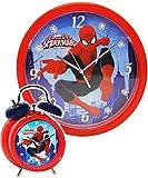 Die besten Spiderman Wecker - 2 tlg. Set Wanduhr & Wecker -