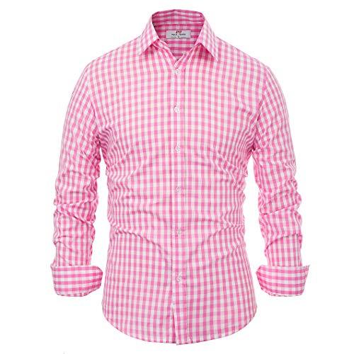 Paul Jones®Men's Shirt Herren Paul Jones Beiläufiges Plaid-Kleid-Shirts Checkered Hemd X-Large rosa kariertes -