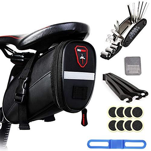 H&L Fahrräder Tasche Satteltasche für Mountainbike Rennräder Fahrrad, Wasserdichte Reißverschluss Fahrradtasche MTB Satteltaschen Mountainbiketasche Rahmentasche, mit 16 in 1 Fahrrad Reparatur Set