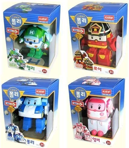 RoboCar POLI ROY AMBER HELLY 4-figures Robots Transformer par coréen Académie | L'exportation