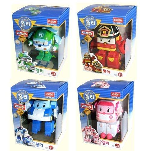 Poli Robot (ROBOCAR POLI Poli + Helly + Amber + Roy (Transformable Robot Toys) +Free gift (A set of poli spoon and fork))