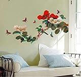 Mestall Große Pfingstrose Blumen Wandtattoo transparent wiederverwendbar Art Aufkleber Wand Aufkleber, 60*90cm