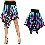 Gedruckter Schmetterling punktierter Rock VENMO Frauen Butterfl Shape Print High Taille Kleid Eleganter Maxi Mini Kurzer Rock (L, Blue)