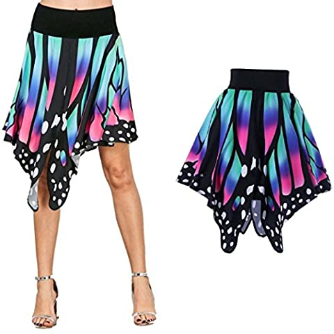 Gedruckter Schmetterling punktierter Rock VENMO Frauen Butterfl Shape Print High Taille Kleid Eleganter Maxi Mini Kurzer Rock (S, Blue)