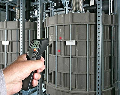 Testo 0560 8314 830-T4 Infrarot-Thermometer, 2-Punkt-Laser-Messfleckmarkierung, 30:1 Optik, einstellbare Grenzwerte, Alarmfunktion, externe Fühler anschließbar