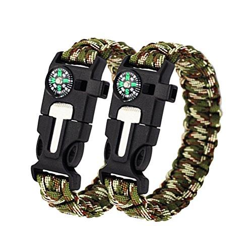 Bcony 2pcs Bracelet Paracorde Corde de Survie D'urgence avec Flint Allume-feu Scraper Whistle Boussole