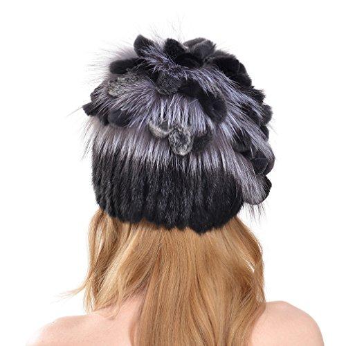 OLLEBOBO Femme de Chapeau Tricotés Mode bicolore en Fourrure de vison Gris&Noir