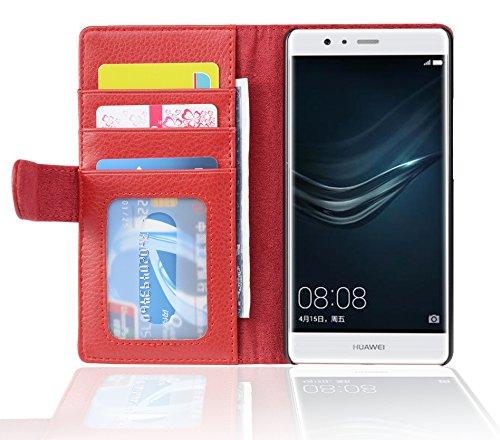 Cadorabo custodia libro per huawei p9 lite in rosso cremisi – con 3 vani di carte e chiusura magnetica – portafoglio cover case wallet book etui protezione
