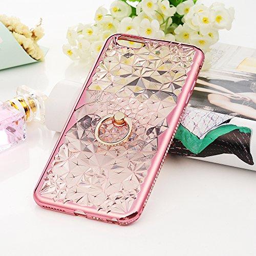 iPhone 6 6S UltraSlim Case KASOS Handyhülle Schale TPU Etui Hülle Rückschale Protective Schützende Stoßdämpfung Cover Executive Design, Diamant Blumen mit Ring Ständer in Champagner Gold + Eingabestif Rosa Gold