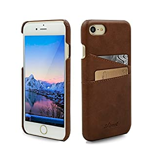 Airart iPhone 7 Card Case, Premium Vintage Soft Leather Wallet Case, Ultra Slim Professional Executive Snap On Back Cover with 2 ID Credit Card Slots Holder for iPhone 7 4.7 Inch, Walnut Brown