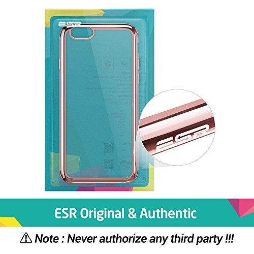 iPhone 6S Plus / 6 Plus Hülle (5,5 Zoll), ESR® Twinkler Series [0.8mm Ultra Dünne] Weiche Silikon Schutzhülle TPU Transparent Zurück mit Überzug Farbig Rahmen Hülle für iPhone 6/6S Plus (Grau) Rosy Gold