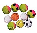 Set aus 10 Stück Moosgummibällen / Gummibällen / Hundebälle / Hundebällchen, je 5,7 cm Durchmesser, 90 g Gewicht # gemischte (nach unserer Wahl) Motive: Fußball, Basketball, Baseball und Tennisball # Moosgummiball # Hundeball