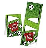 25 kleine braune Geschenktüten Papiertüten Geburtstagstüten 13 x 18 + 2 cm Lasche + mit Aufkleber Fußball FÜR DICH perfekt für die Fußball-Party und jeden Fußball-Fan Verpackung Kinder - 2