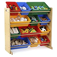 Tot Tutors Kids Toy Storage Organiser with 12 Plastic Bins, Natural/Primary (Primary Collection)
