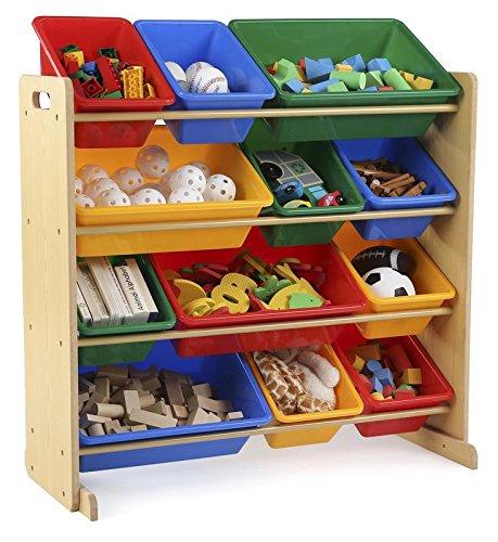 Tot tutores niños Juguete Organizador de Almacenamiento con 12bandejas de plástico, Natural/(Primaria colección)