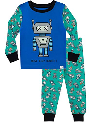 Harry Bear Jungen Schlafanzug Retro Roboter Slim Fit Mehrfarbig 116 -