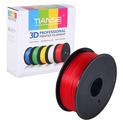 TIANSE Filamento de PETG para la impresora 3D/Pluma 3d, 1 kg 1,75 mm(Rojo)