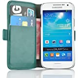 Samsung Galaxy S4 Mini, JAMMYLIZARD Luxuriöse Ledertasche Flip Cover, TÜRKIS