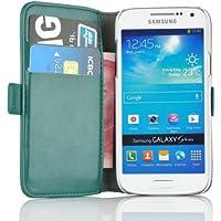 Samsung Galaxy S4 Mini, JAMMYLIZARD Luxuriöse Ledertasche Flip Cover, TÜRKIS