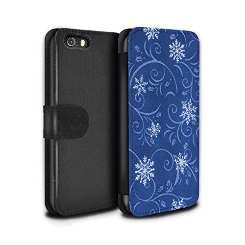 Stuff4 Coque/Etui/Housse Cuir PU Case/Cover pour Apple iPhone SE / Pack (7 pcs) Design / Motif flocon de neige Collection Bleu