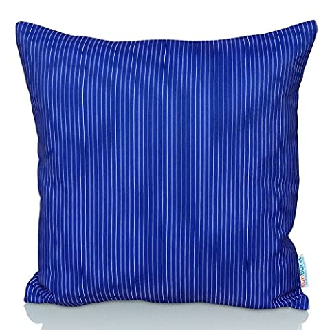 Sunburst Outdoor Living 50cm x 50cm (With Piping) DARK BLUE STRIPE Contemporary Decorative Throw Pillow Cushion Cover for Couch, Bed, Sofa or Patio - Only Case, No Insert