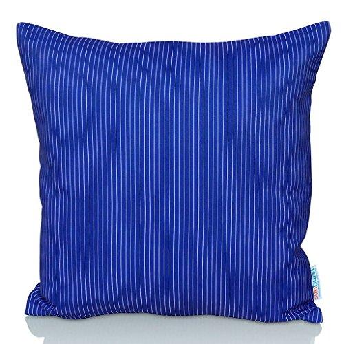 Sunburst Outdoor Living DARK BLUE STRIPE 45cm x 45cm (Senza Tubazioni) Federa decorativa per cuscini per divano, letto, sofà o da esterni - Solo federa, no interno