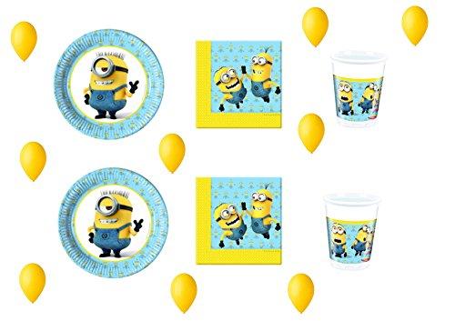 CDC - Kit N ° 12 Fête et Party moi moche et méchant Minions - 32 (32 assiettes, verres, 40 serviettes, 100 ballons)