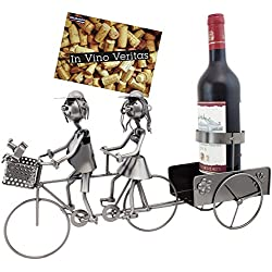 Brubaker Porte-Bouteille de vin - Couple à vélo/en Tandem - Métal - Carte de vœux Incluse - Idée Cadeau Originale - Objet décoratif
