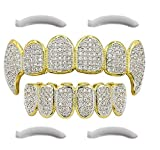 24K Gold Plated Iced Out Grillz Con Diamanti Micropave CZ + 2 barre di modifica EXTRA