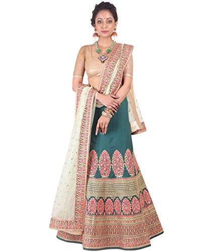 Indian Ethnicwear Bollywood Pakistani Wedding Green A-Line Lehenga Semi-stitched-DIVISL012
