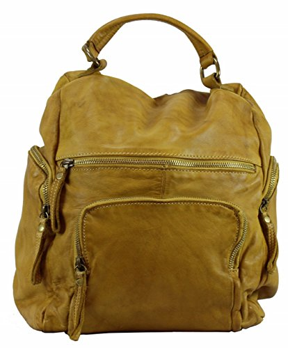 BZNA Bag Stefano gelb Backpacker Designer Rucksack Damenhandtasche Schultertasche Leder Nappa sheep ItalyNeu