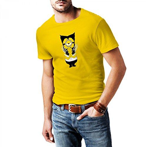 Fashionalarm Herren T-Shirt - Wolve-Rine Min. Parodie | Fun Shirt als Geschenk Idee für Superhelden Film Fans, (Kostüm Wolverine Gelb Film)