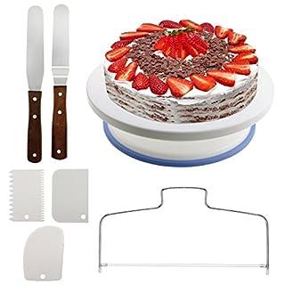 Tortenplatte drehbar,  Queta Kuchenplatte Cake Decorating Ständer Spinner Backen Dekorieren Zubehör mit 2 Icing Spatula und 3 Icing Smoother 1 Tortenbodenteiler für Backen Gebäck, Zuckerguss
