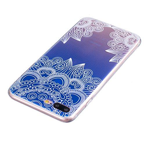 iPhone 7 Plus Coque, Aeeque Fleurs de Dentelle Blanc Dessin Transparent Crystal Silicone Doux TPU Protection Contre les Chutes Case Cover Housse Etui pour iPhone 7 Plus 5.5 pouce Motif #7