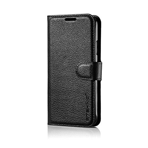 iPhone X/XS, Premium-Geldbörse aus PU-Leder mit Standfuß, Kartensteckplätzen, Flip-Phone-Cover, Schwarz [Onyx Series] ()